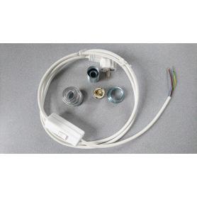 Kit complet câble de remplacement lampe blindé Danell avec interrupteur bipolaire + douille + spire métallique de blindage E14