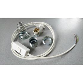 Kit complet câble blindé de remplacement lampe Danell avec interrupteur bipolaire + douille + spire métallique de blindage E27