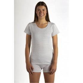 Tee-shirt anti-ondes Wavesafe pour femme coton bio encolure ronde manches courtes - blanc