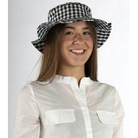 Chapeau anti-ondes Wavesafe doublé en tissu Swiss Shield Ultima - carreaux noirs et blancs