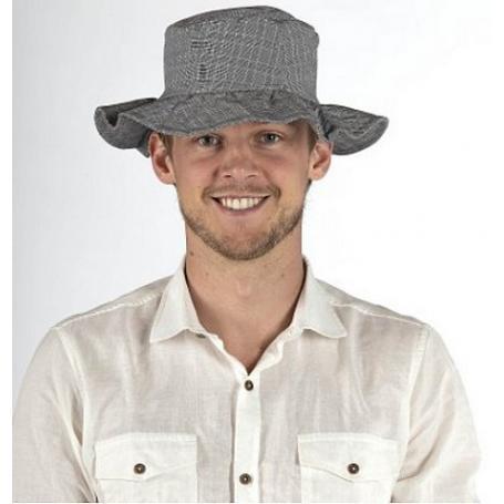 Chapeau anti-ondes Wavesafe doublé en tissu Swiss Shield Ultima - gris à fines rayures blanches