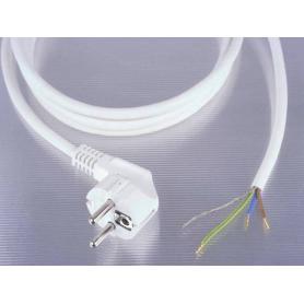 Câble blindé + prise 2 mètres blanc Danell, 0.75 mm², prêt à monter
