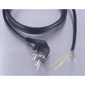 Câble blindé + prise 2 mètres noir Danell, 1.0 mm², prêt à monter