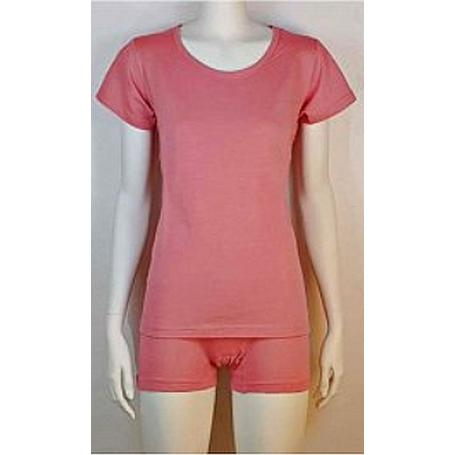 Tee-shirt anti-ondes Wavesafe pour femme coton bio encolure ronde manches courtes - rose