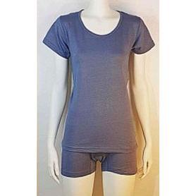 Tee-shirt anti-ondes Wavesafe pour femme coton bio encolure ronde manches courtes - gris anthracite