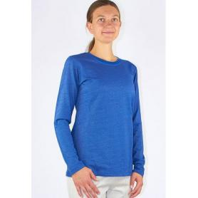 Tee-shirt anti-ondes Wavesafe pour femme coton bio manches longues - bleu roi