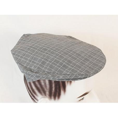 Béret anti-ondes Wavesafe pour homme doublé en tissu Swiss Shield Ultima - gris clair à carreaux