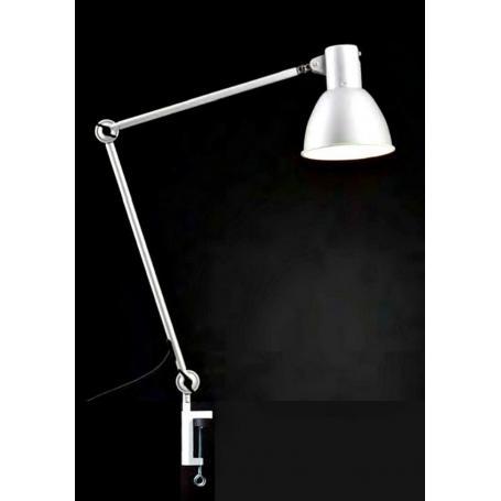 """Lampe de bureau blindée Danell """"Architecte"""" blanche   connectiques de branchement suisses"""