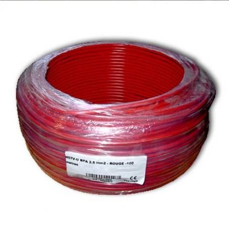 Fil de phase blindé 2.5 mm² rouge